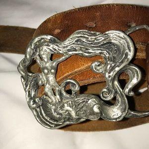 Vintage Solid Pewter Buckle vintage leather belt
